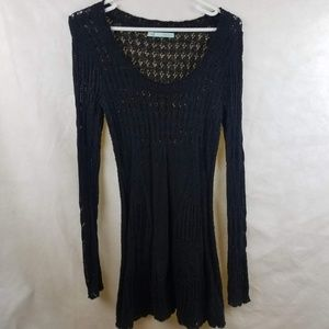 Maurices Crocheted Sweater Black Size Small